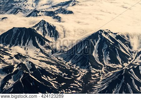 View Of The Kamchatka Mountains From The Airplane Porthole, Russia, Kamchatka Peninsula