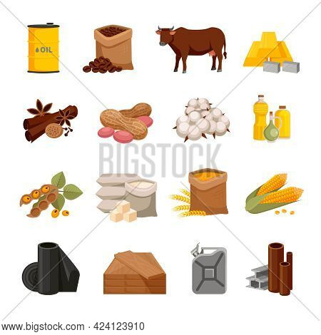 Various Commodities Flat Icons Set With Food Products And Materials On White Background Isolated Vec