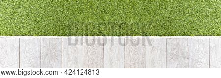 Panorama Of White Wooden Floors And Green Artificial Turf Outside The Building Pattern And Backgroun