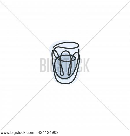 One Line Drawing Vodka Glass On White Background. Cartoon Graphic Sketch For Celebration Design. Con