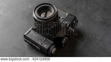 A Vintage Classic Old Fashioned Photo Camera, Simple Creative Idea Concept
