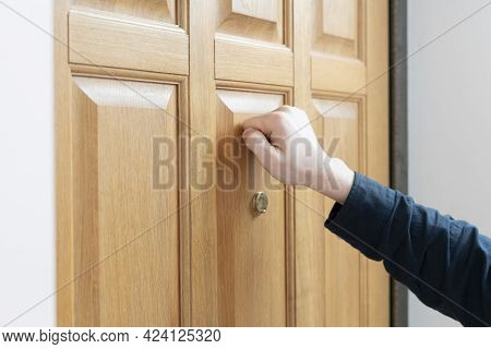A Person Hand Knock The Door, Visit The Friends House