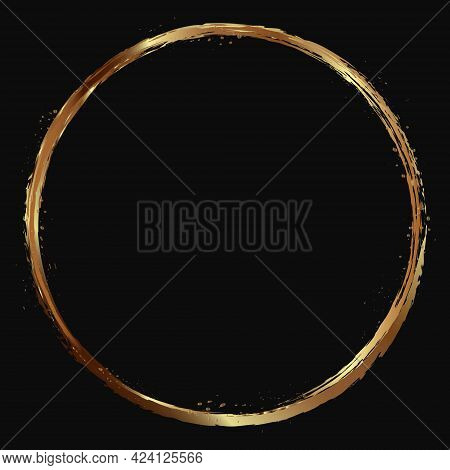 Round Gold Frame With Gold Splashes On A Black Background. Round Brush Stroke Of Gold On A Dark Back