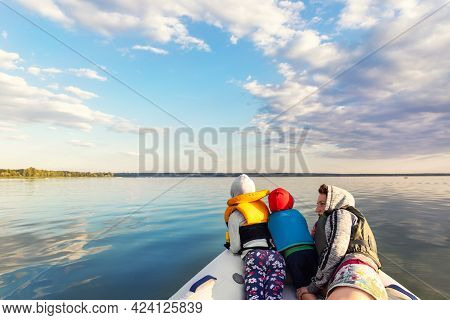 Bacl View Two Cute Adorable Little Caucasian Sibling Together With Mother Wearing Lifejacket Vest Ha