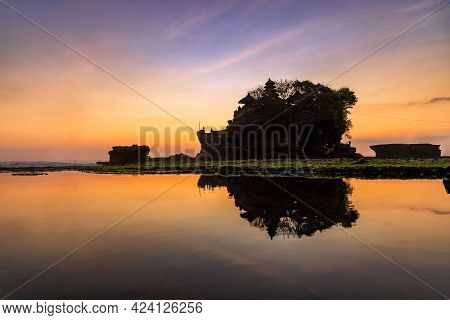 Silhouette Of Tanah Lot Temple In Golden Sunset It The Most Attraction And Travel Destination Of Bal