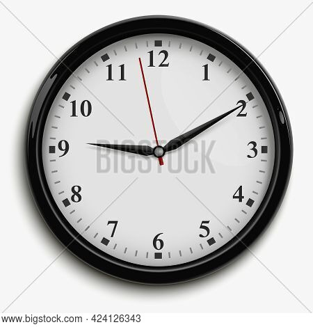 Wall Office Clock With Black And Red Hands And White Dial Isolated On White Background Realistic Vec