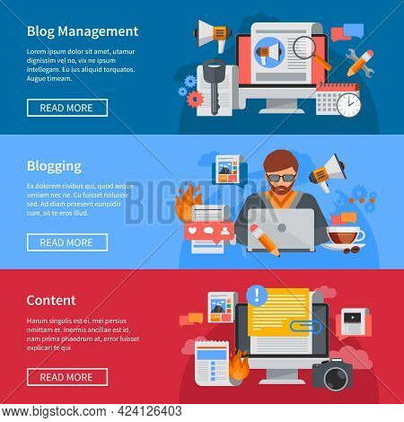 Horizontal Blogging And Blog Management Flat Banners With Blogger Sharing Content Isolated Vector Il