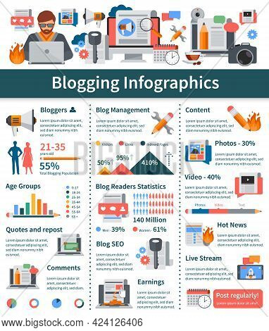Blogging Flat Infographics Layout With Blogger Age Groups Statistics Hot News And Live Stream Presen
