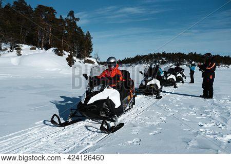 Woman in a motor sled race