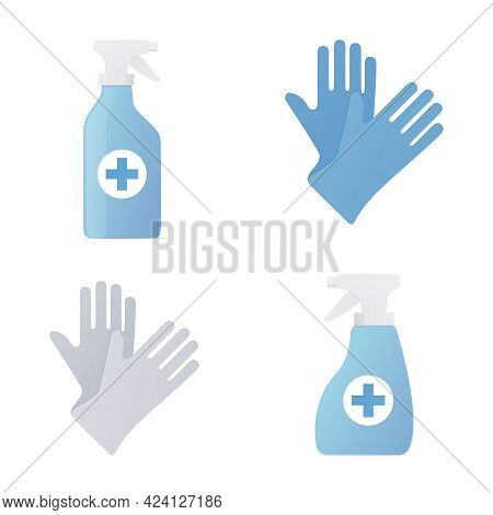 Disinfectant Sanitizer And Gloves. Flat Colored Vector Illustration. Isolated On White Background.