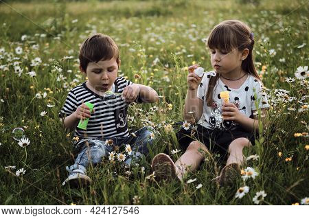 Charming Kids On Walk In Clearing Relax Among Wild Beautiful Flowers. Happy Childhood In Nature. Chi