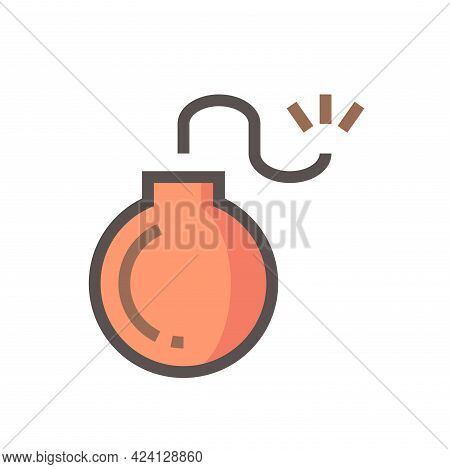 Bomb Vector Icon. Explosive Weapon With Round Metal, Burning Spark Fuse For Military Using To Attack