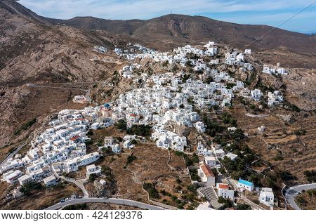 Cyclades, Greece. Serifos Island, Aerial Drone View Of Chora Town