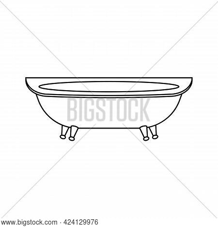 Bathtub Transparent Outline Icon. Vector Drawing On White Background.
