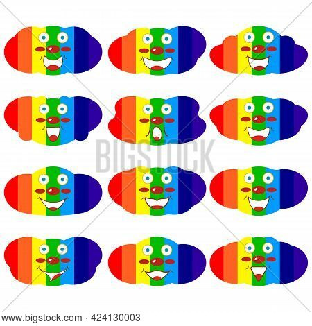 Funny сheerful Cute Clouds With A Rainbow Pattern Inside In Cartoon Style. Template For Printing On