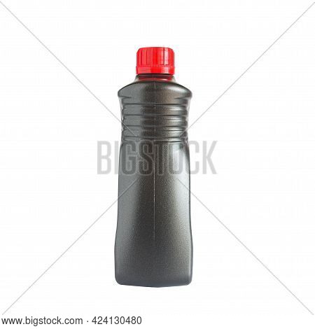 Lubricant Oil Bottle Or Can On Background.