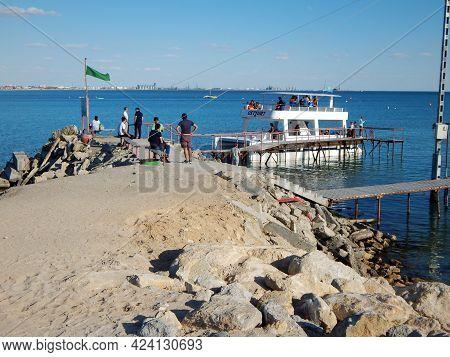 Jetty For A Pleasure Catamaran. Caspian Sea. Kazakhstan. Aktau City. 08 September 2019 Year. Mangist