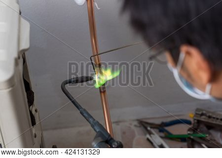 Welding Of Copper Pipe Of A Methane Gas Pipeline Or Of A Conditioning Or Water System. Welding Solde