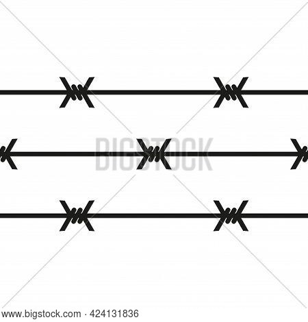 The Icon Of The Barbed Wire Fence. Simple Vector Illustration On A White Background.