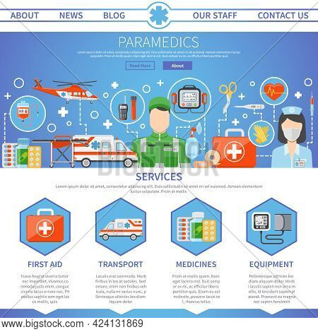 Paramedic Advertising Template For Website With Contact Information And Decorative Icons Set Of Medi