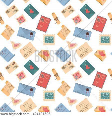 Postal Items Seamless Colorful Vector Illustration. Envelopes Pattern.