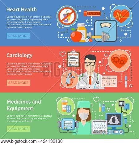 Horizontal Cardiology Flat Banners With Medicines And Equipment For Heart Treatment And Lifestyle Fo