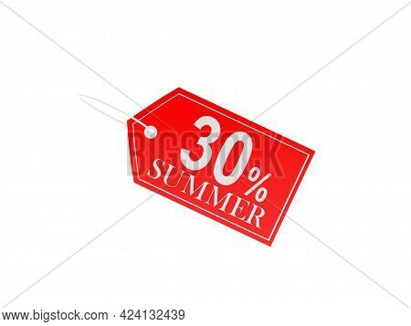 Red Price Tag With Thirty Percent Summer Discount On White. 3d Illustration