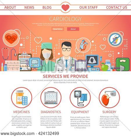 Website Flat Page Presenting Information About Services Provided By Cardiology Center And Tools For