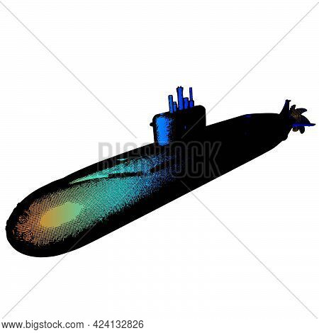 Submarine Icon 3d Greed On A Transparent Background Vector Illustration