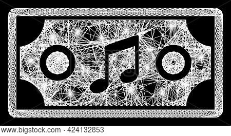 Glowing Crossing Mesh Concert Ticket Model With Flash Nodes. Illuminated Vector Frame Created From C