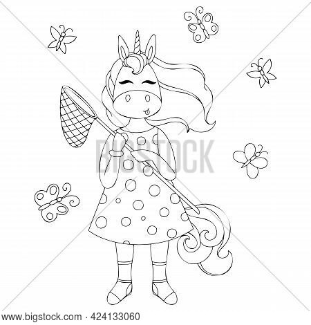 Vector Illustration Of A Unicorn With A Net And Butterflies, Children's Cute Illustration