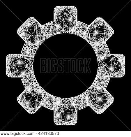 Flare Crossing Mesh Cog Frame With Lightspots. Illuminated Vector Carcass Created From Cog Symbol An