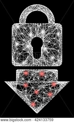 Shiny Crossing Mesh Lock Down Carcass With Bright Dots. Constellation Vector Model Created From Lock