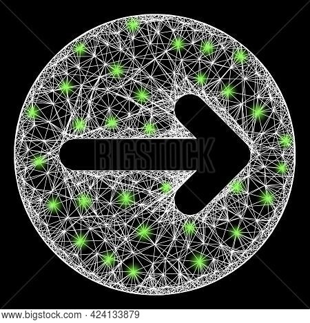 Glowing Net Right Direction Framework With Glowing Spots. Constellation Vector Carcass Created From