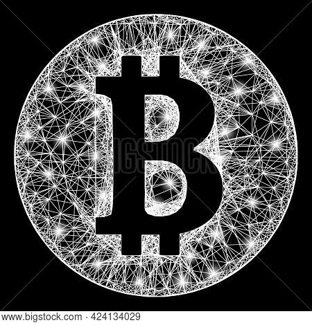 Glare Net Mesh Bitcoin Coin Model With Light Spots. Constellation Vector Carcass Created From Bitcoi