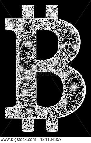Glowing Net Mesh Bitcoin Symbol Framework With Glowing Spots. Illuminated Vector Structure Created F