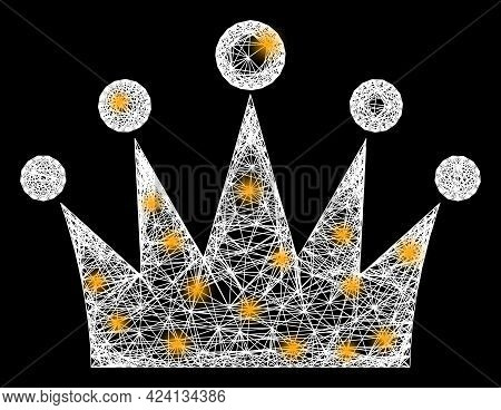 Shiny Net Mesh Crown Frame With Flash Nodes. Constellation Vector Structure Created From Crown Picto