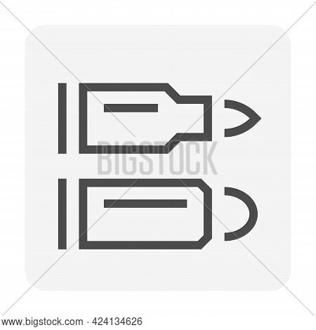 Bullet Vector Icon. Also Called Ammo, Projectile. Weapon Part Of Firearm Ammunition I.e. Rifle, 9mm