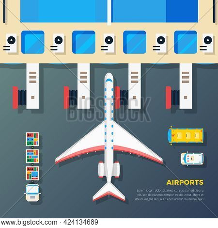 Airport Apron Planes Airfield Area With Aircraft At Jet Bridge And Ground Srvice Top View Abstract V