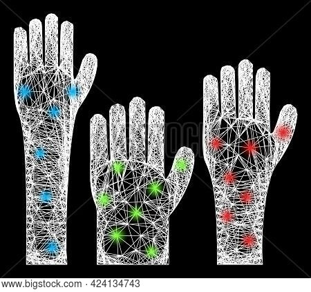 Bright Crossing Mesh Voting Hands Model With Light Dots. Constellation Vector Frame Created From Vot