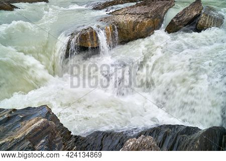 Turbulent Mountain Creek. Rapids On A Swollen, Mountain Creek In The Pacific Northwest.