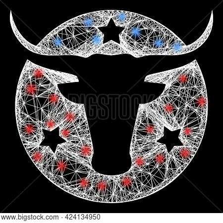 Glare Crossing Mesh American Bull Logo Model With Flash Nodes. Constellation Vector Carcass Created