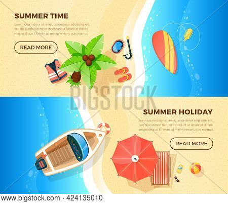 Summer Holiday Tropical Island Ocean Beach Vacation Information 2 Top View Banners Webpage Design Is