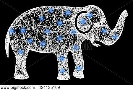 Bright Crossing Mesh Elephant Wireframe With Bright Dots. Illuminated Vector Framework Created From