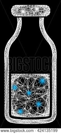 Bright Crossing Mesh Water Bottle Frame With Bright Dots. Constellation Vector Mesh Created From Wat
