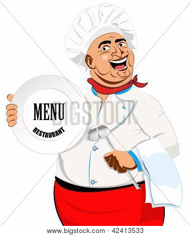 Eastern Chef and big plate on a white background