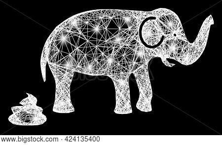 Glare Crossing Mesh Elephant Shit Framework With Light Spots. Constellation Vector Framework Created