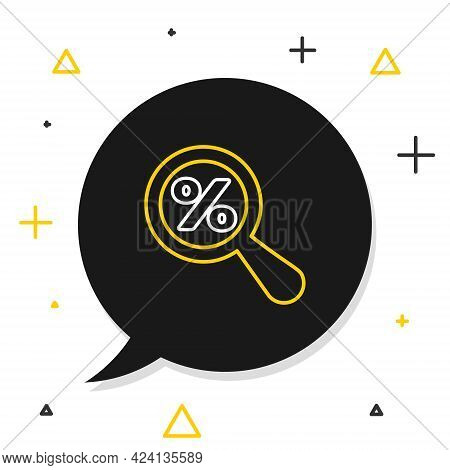 Line Magnifying Glass With Percent Discount Icon Isolated On White Background. Discount Offers Searc