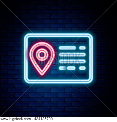 Glowing Neon Line Address Book Line Icon Isolated On Brick Wall Background. Telephone Directory. Col