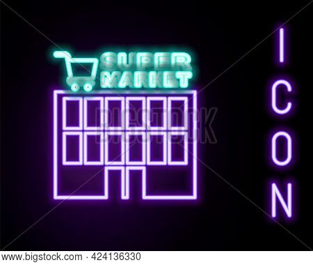 Glowing Neon Line Supermarket Building With Shopping Cart Icon Isolated On Black Background. Shop Or